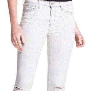 J Brand White Distressed Acid Wash Skinny Jeans